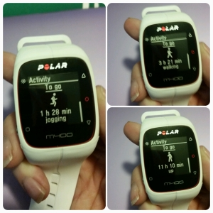 Polar M400 GPS Watch - Showing Daily Activity Needed to Reach Your Goal