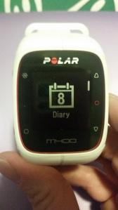 Polar M400 Diary Menu Screen