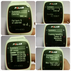 Polar M400 - Looking at the Workout feedback screens on the watch