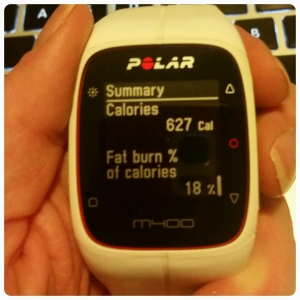 Polar M400 GPS Heart Rate Watch with calories burned in spinning / indoor cycling class